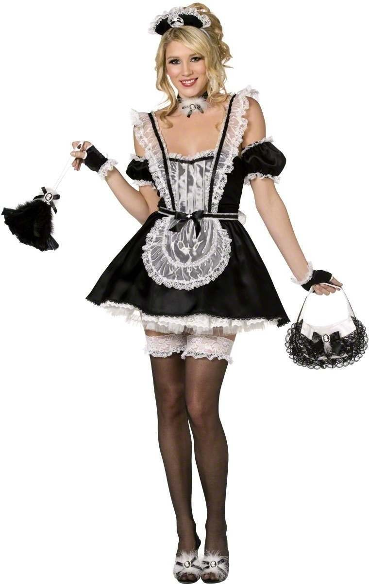 French Maid 4 Piece Fancy Dress Costume Ladies (French , Sexy)