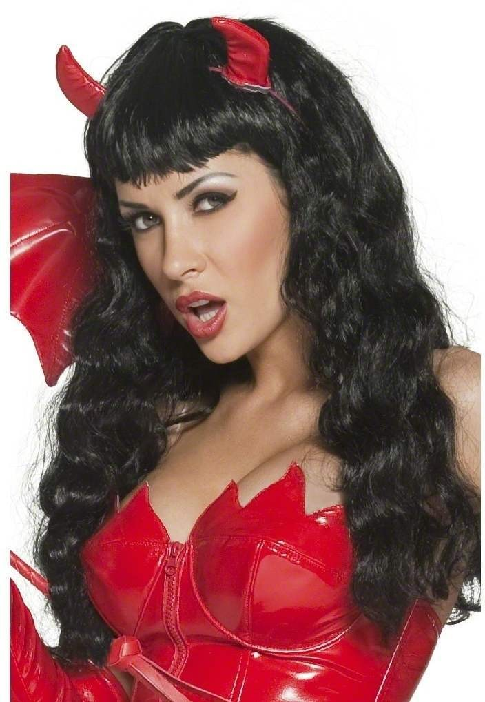Fever Pin Up Devilicious Wig - Fancy Dress Ladies (Halloween) - Black