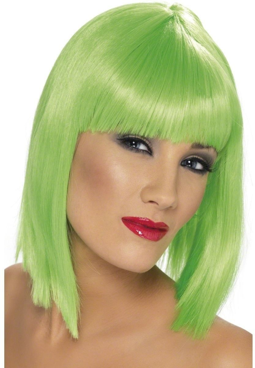 Glam Wig - Fancy Dress Ladies - Neon Green