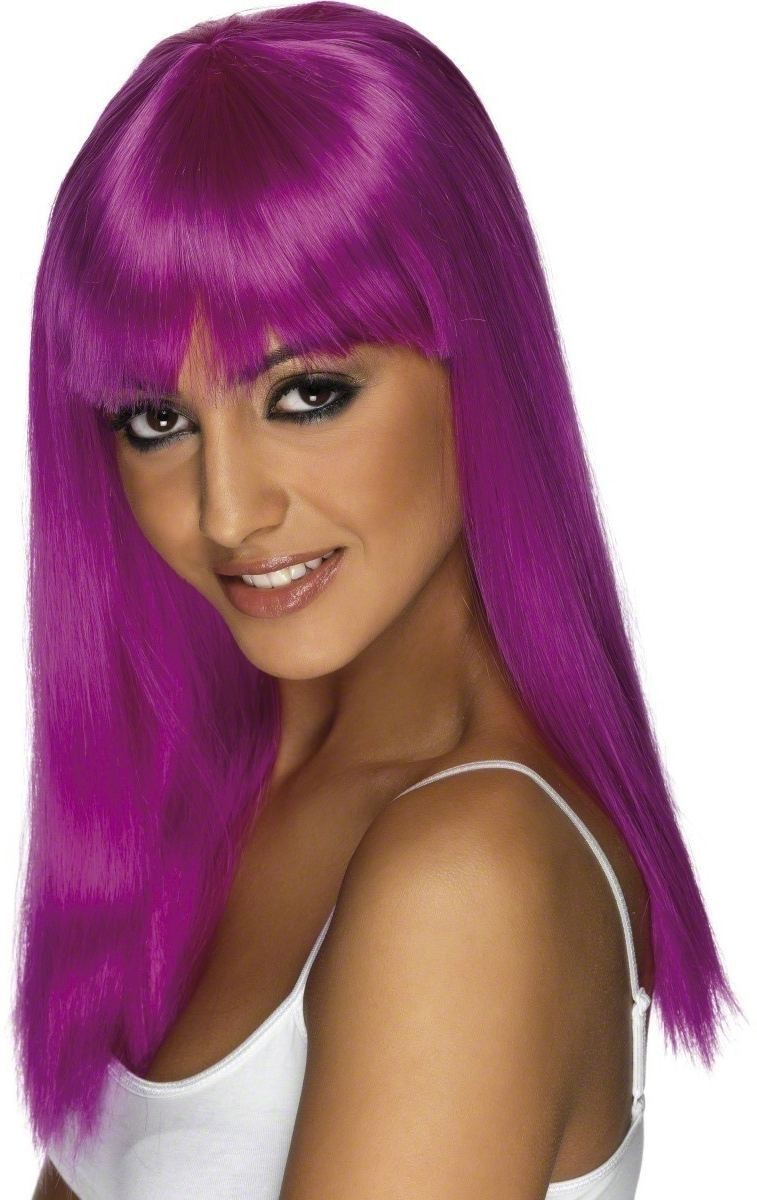 Glamourama Wig - Fancy Dress Ladies  - Neon Purple