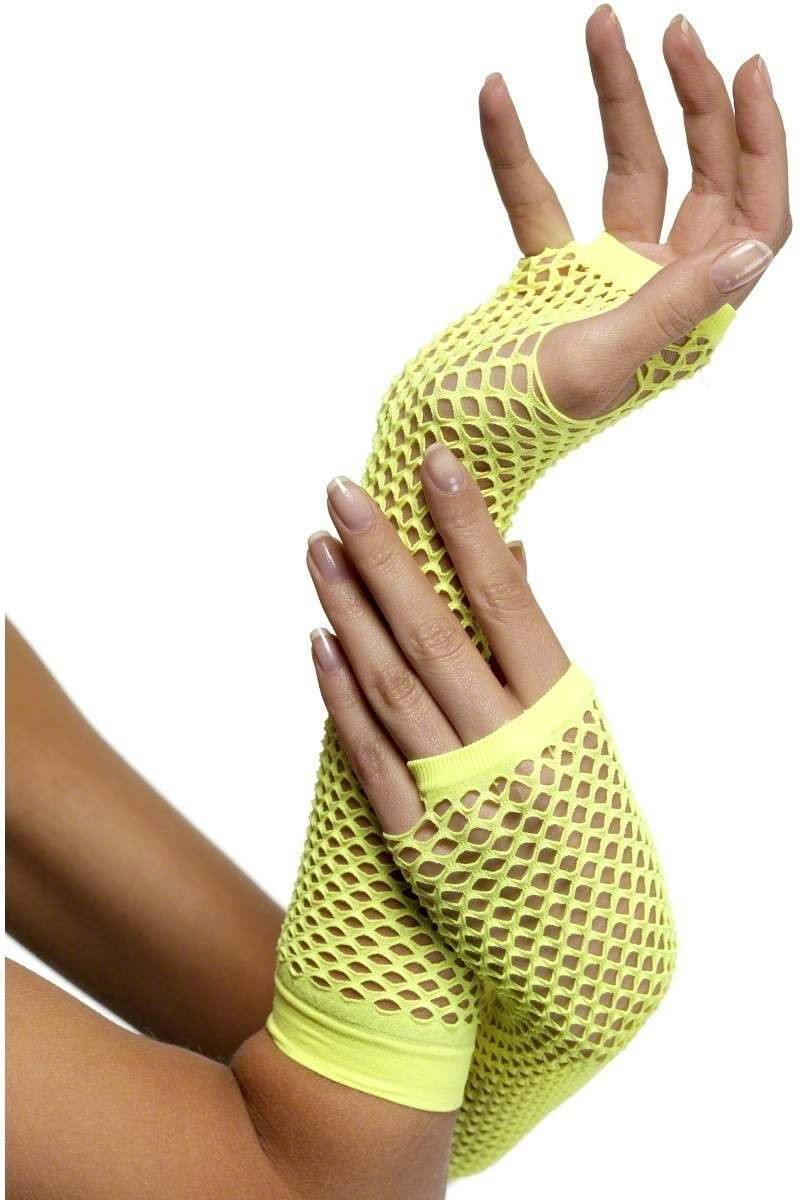 Fishnet Gloves Yellow - Fancy Dress Ladies