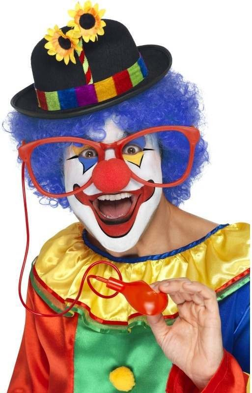 Large Squirting Clown Glasses, Assorted Colours (Clowns Fancy Dress Glasses)