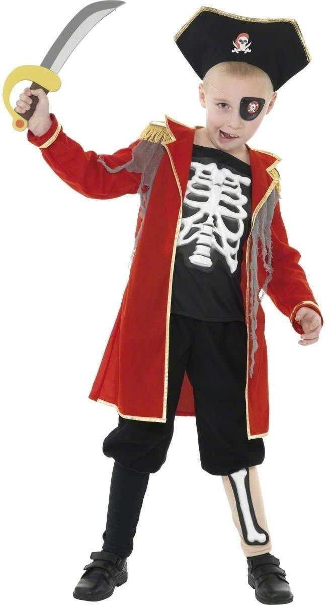 Pirate Captain Skeleton Fancy Dress Costume Boys (Halloween)