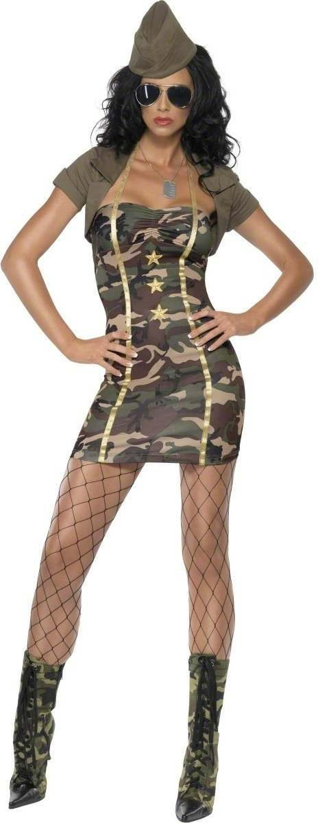 Fever Major Trouble Fancy Dress Costume Ladies (Army , Sexy)