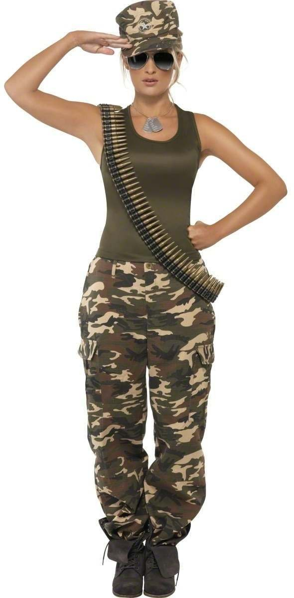 Khaki Camo Costume Female Fancy Dress Costume Ladies (Army)