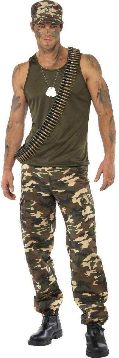 Khaki Camo Costume Male Fancy Dress Costume Mens (Army)