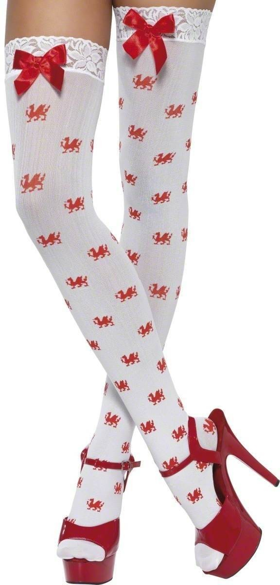 Stockings White With Red Dragons - Fancy Dress Ladies (Animals)