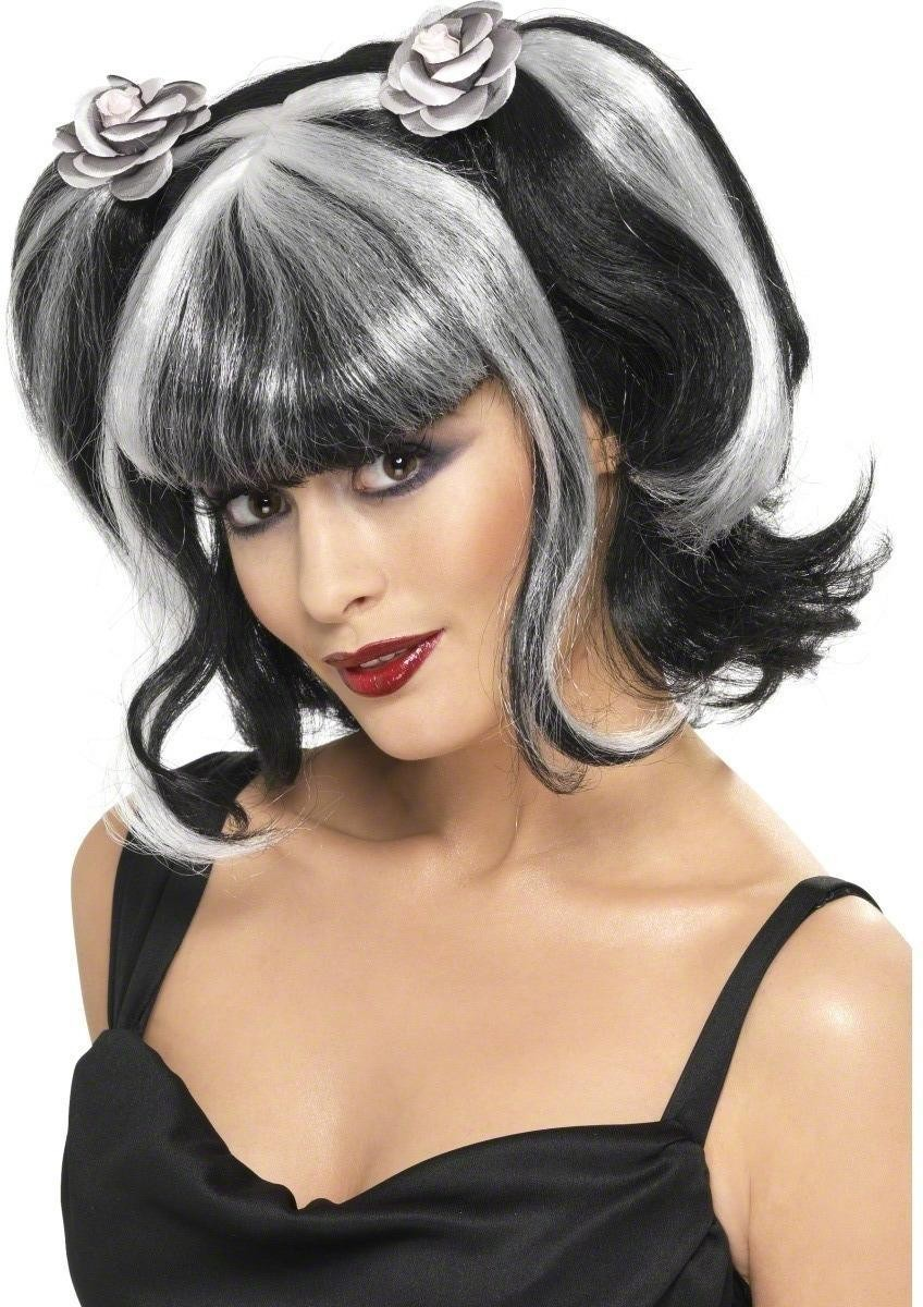 Lilyra Cute Witch Wig - Fancy Dress Ladies (Halloween) - Black/White