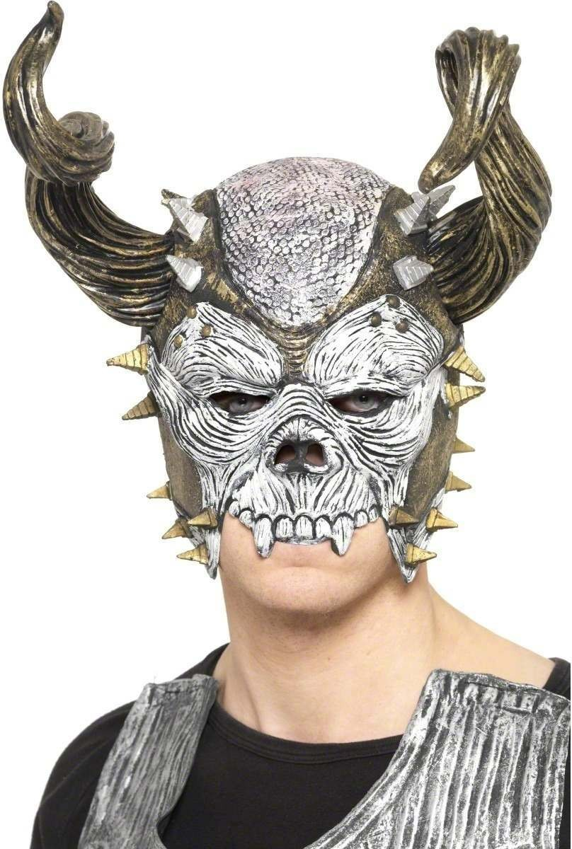 Skull Overhead Mask And Helmet - Fancy Dress Mens (Halloween)