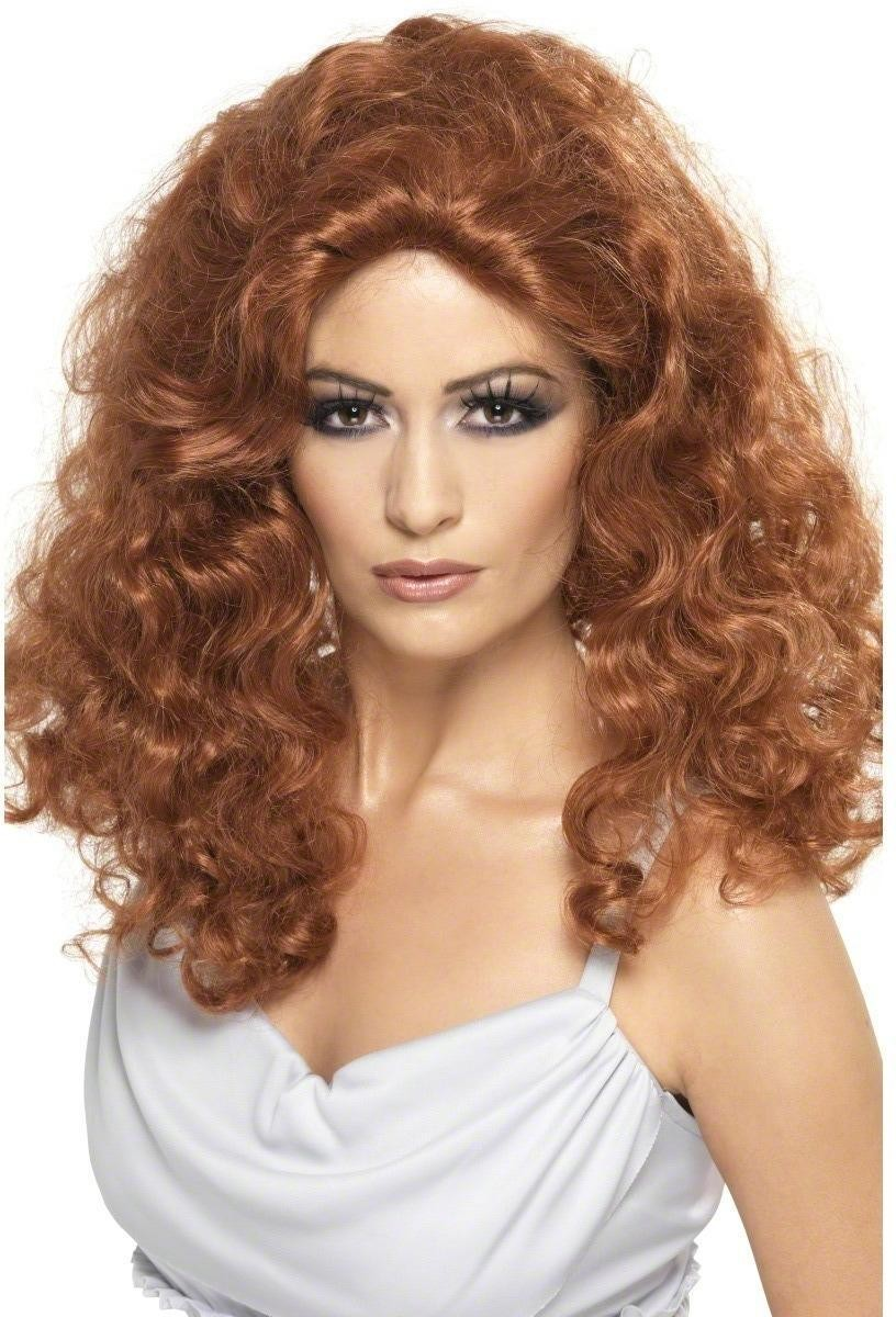 Fiery Vampiress Wig - Fancy Dress Ladies (Halloween) - Red