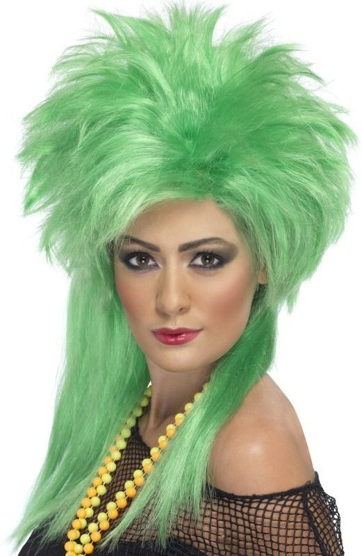 Groovy Punk Chick Wig (1980S Fancy Dress Wigs) - Green