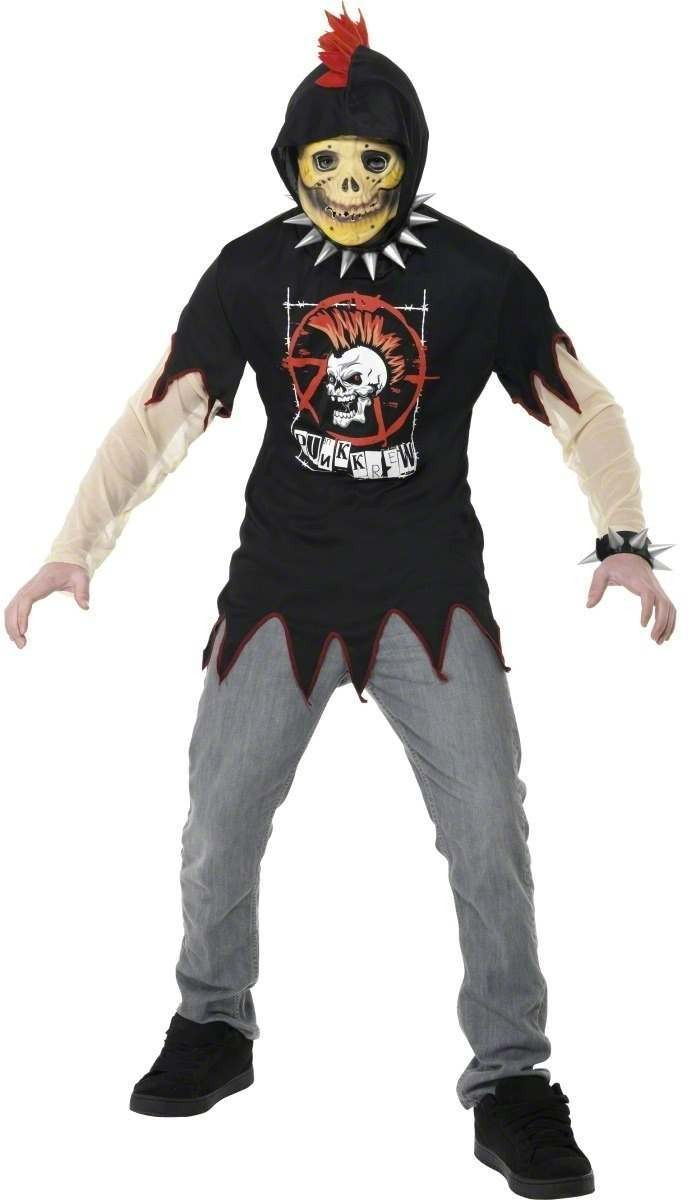 Teen Skeleton Punk Hoodie - Fancy Dress Age 13+ Boys (Halloween)