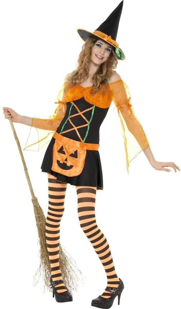 Teen Pumpkin Witch Fancy Dress Costume Age 13+ Girls (Halloween)