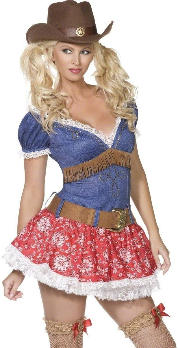 Wild West 3 Piece Fancy Dress Costume Ladies (Cowboys/Indians , Sexy)