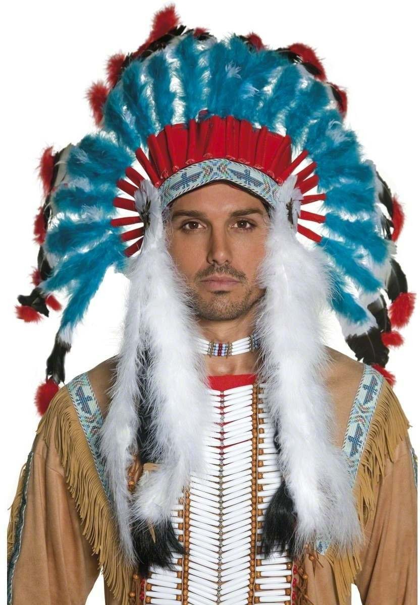 Authentic Western Indian Headdress - Fancy Dress Mens (Cowboys/Indians)