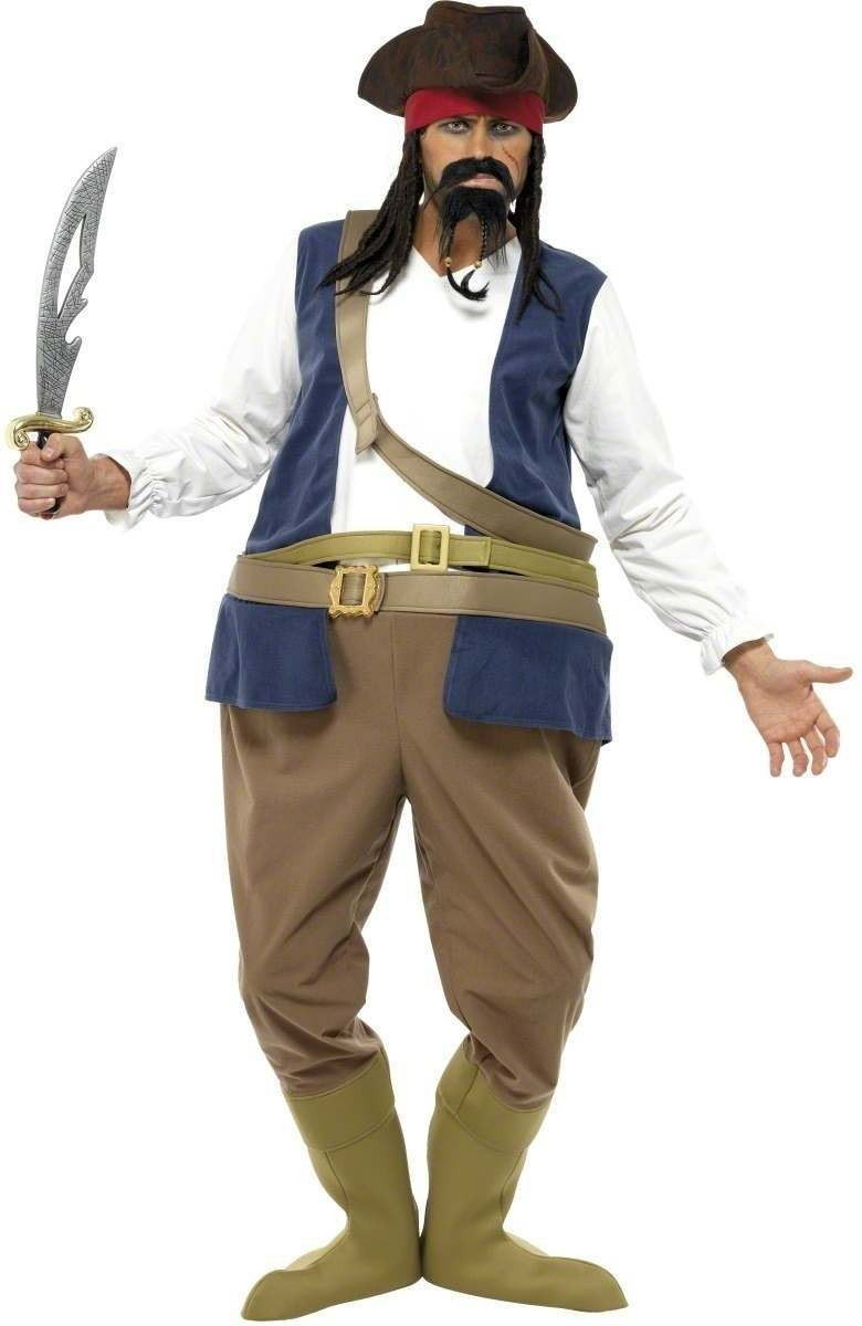 Pirate Hooped Fancy Dress Costume Mens Size 38-40 S (Pirates)