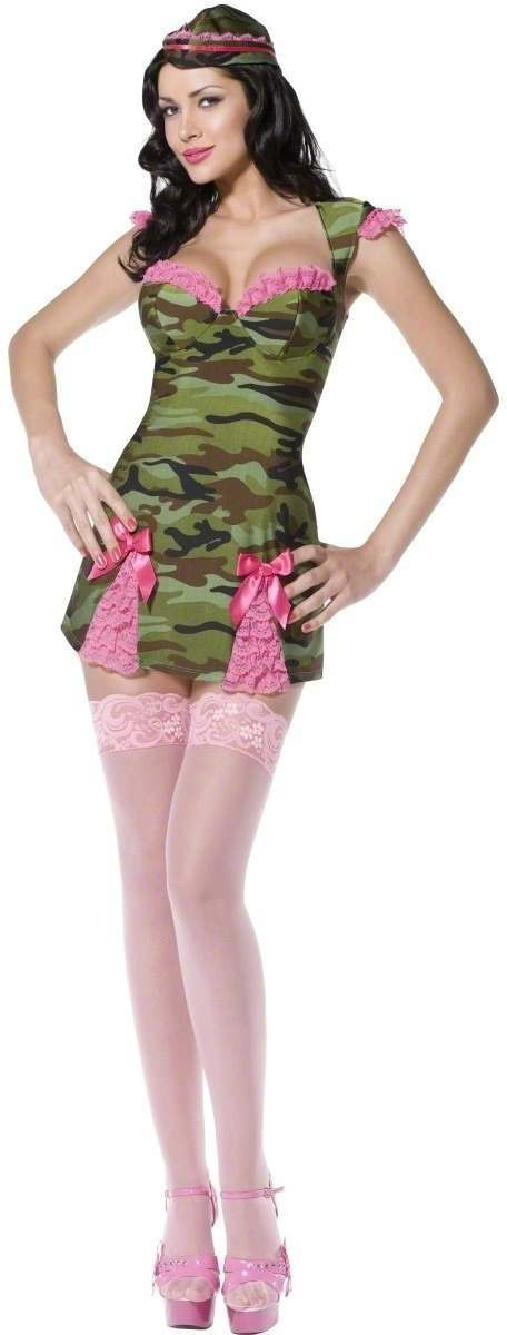 Fever Pin Up Camo Cutie Fancy Dress Costume Ladies (Army , Sexy)