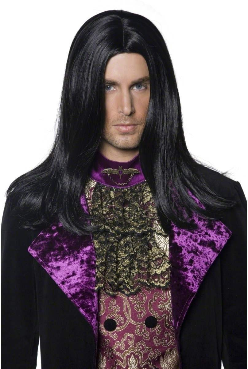 Gothic Count Wig - Fancy Dress Mens (Halloween) - Black