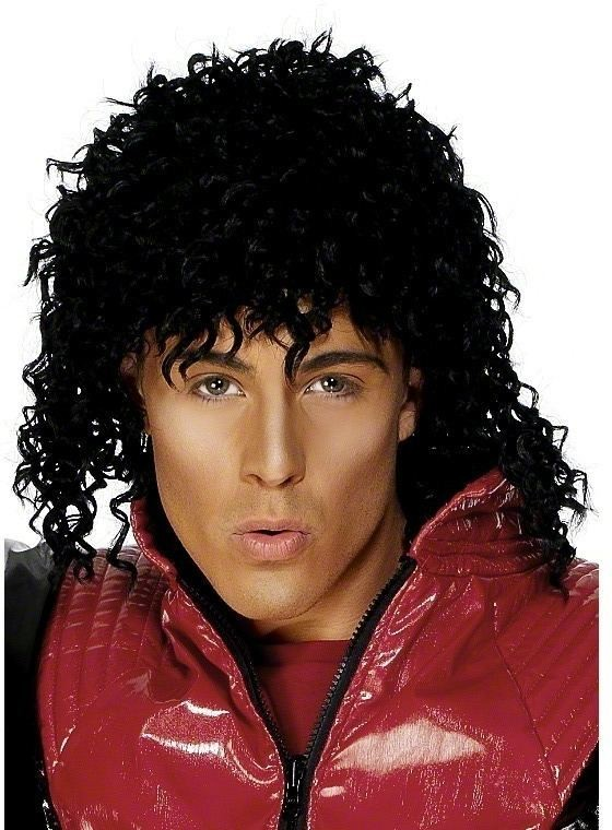 Michael Jackson Thriller Wig - Fancy Dress Mens (Music) - Black