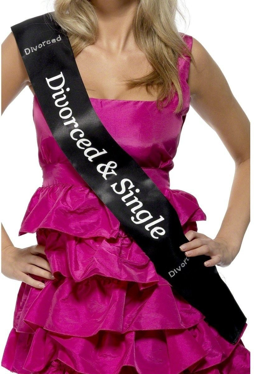 Divorced And Single Sash - Fancy Dress Ladies (Hen & Stag)