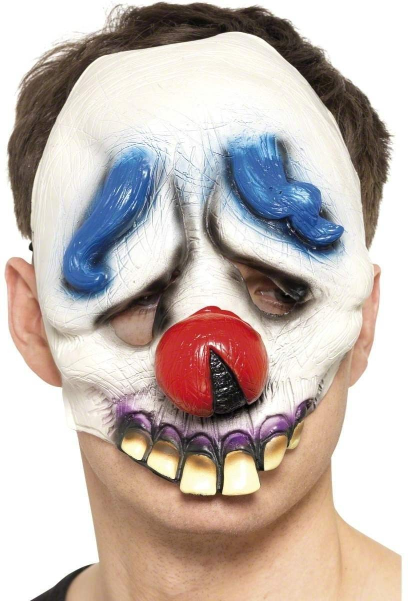Dopey The Clown Chinless Face Mask - Fancy Dress Mens (Halloween)