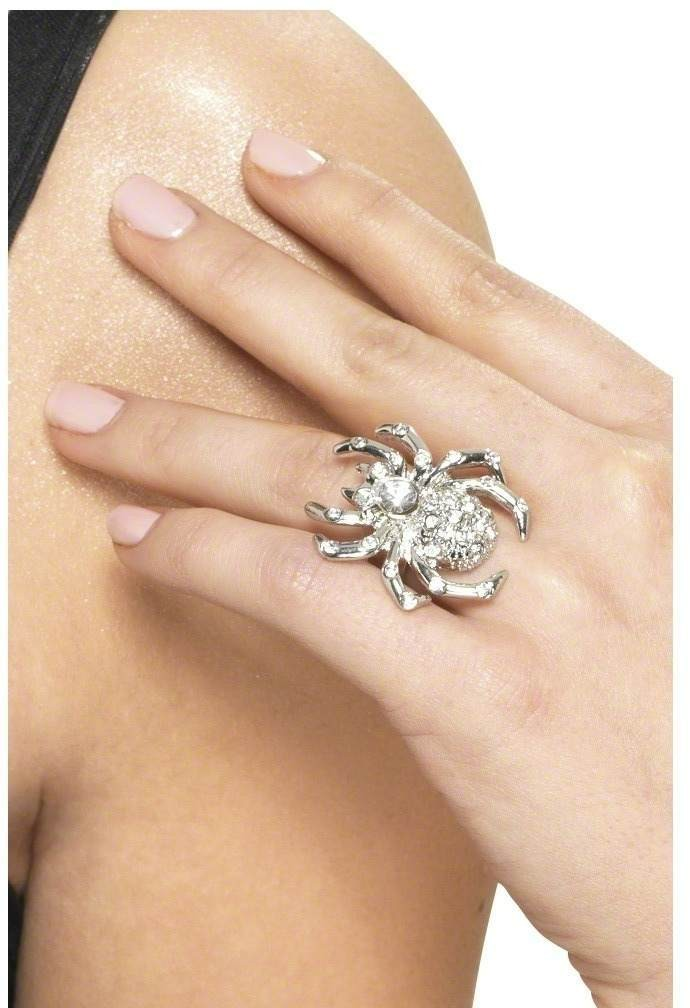 Spider Rhinestone Ring - Fancy Dress Ladies (Halloween)