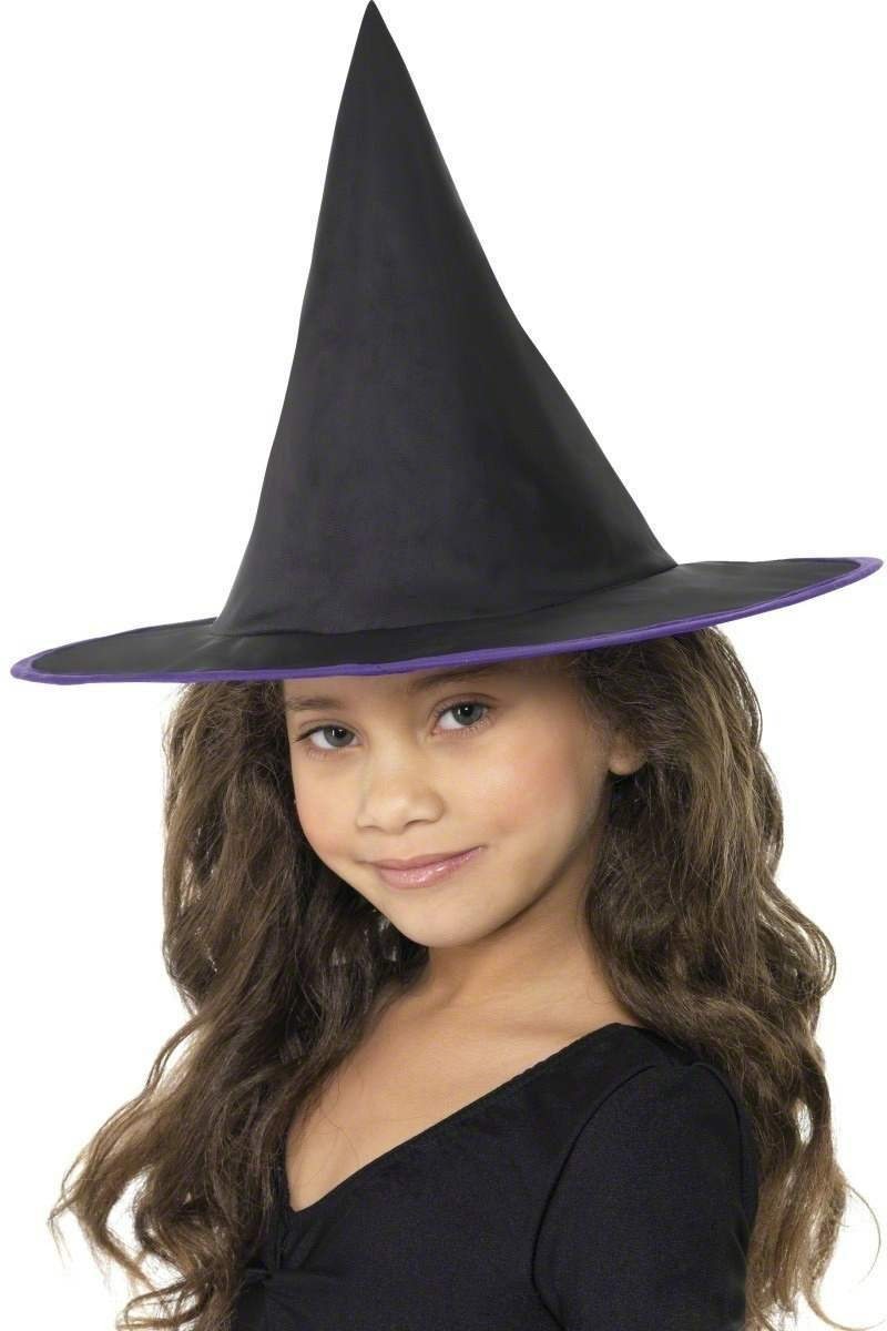 Childs Witch Hat With Coloured Rim - Fancy Dress Girls (Halloween)