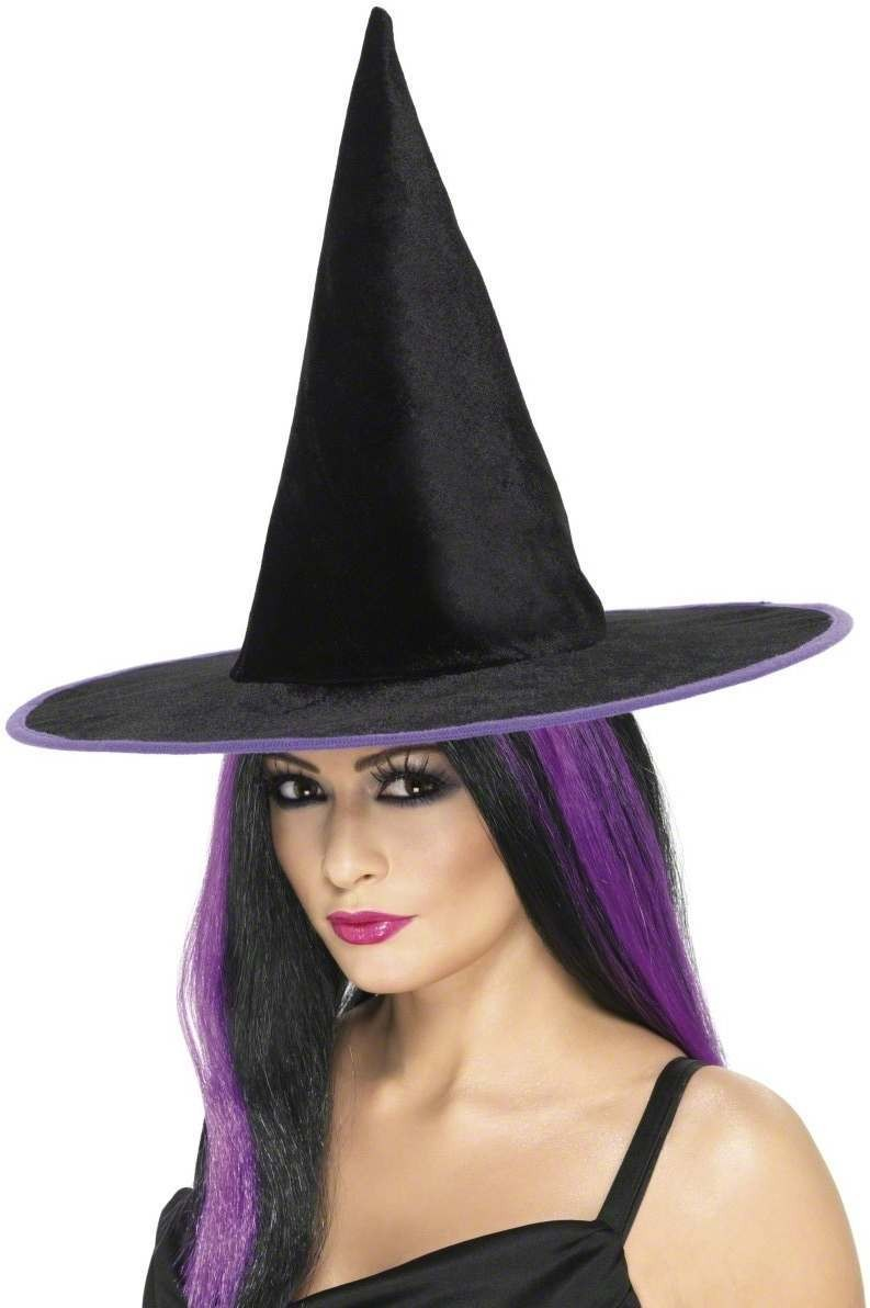 Witch Hat With Coloured Rim - Fancy Dress (Halloween)