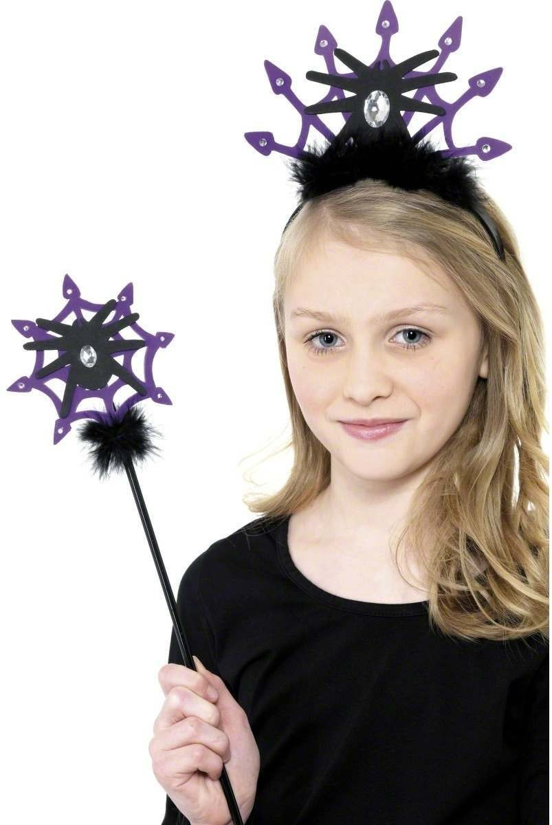Spider Tiara And Wand Set - Fancy Dress Ladies (Halloween)