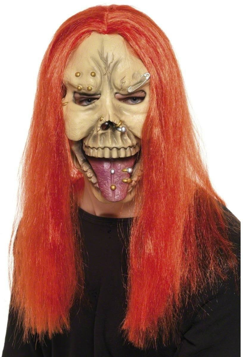 Punk Skull Mask With Neon Hair - Fancy Dress Mens (Halloween)