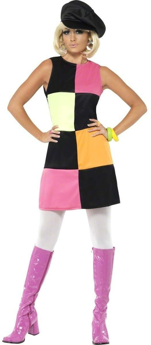 60'S 4 Colours Groovy Fancy Dress Costume Ladies (1960S)