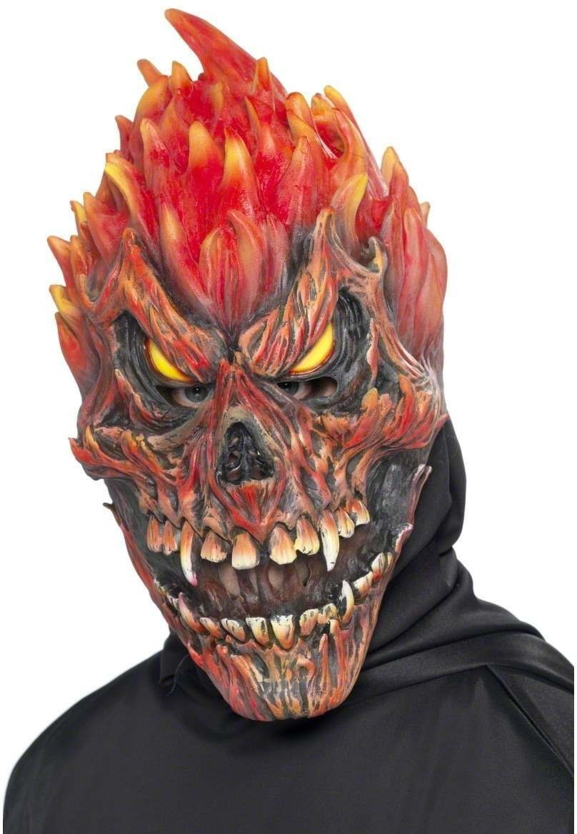 Sinister Demon Flame Mask Fancy Dress (Halloween)