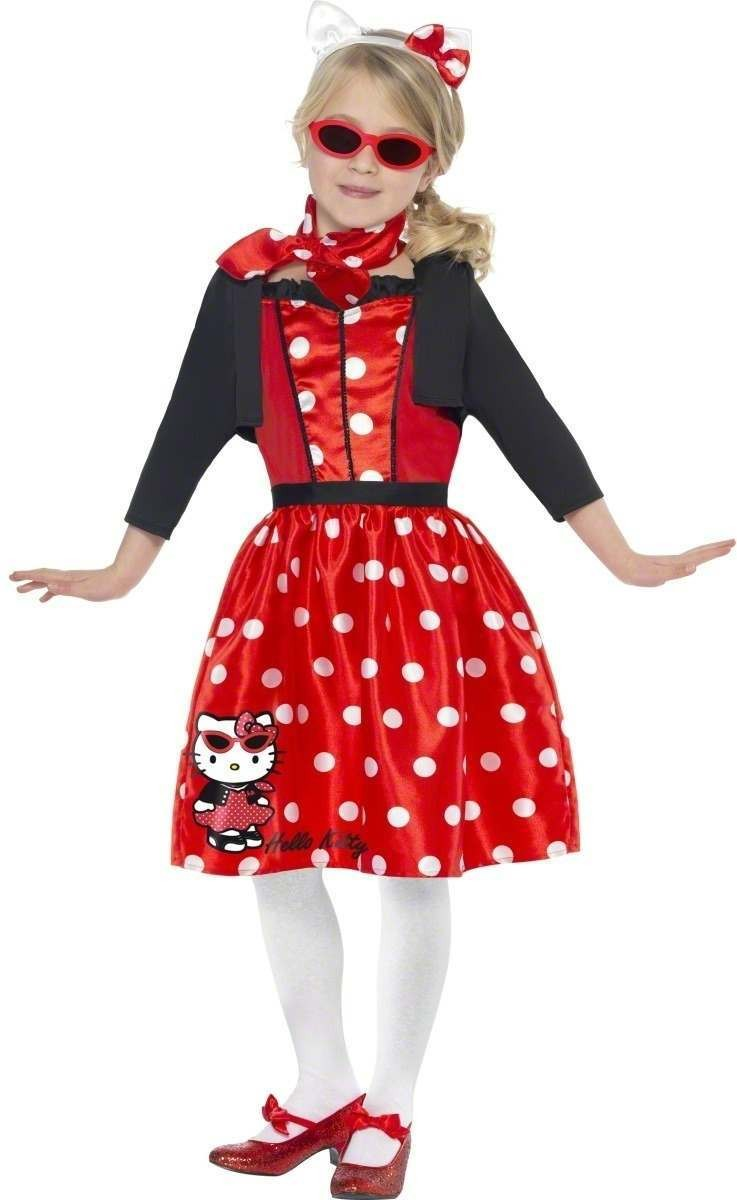 Hello Kitty Retro 50'S Cherry Fancy Dress Costume Girls