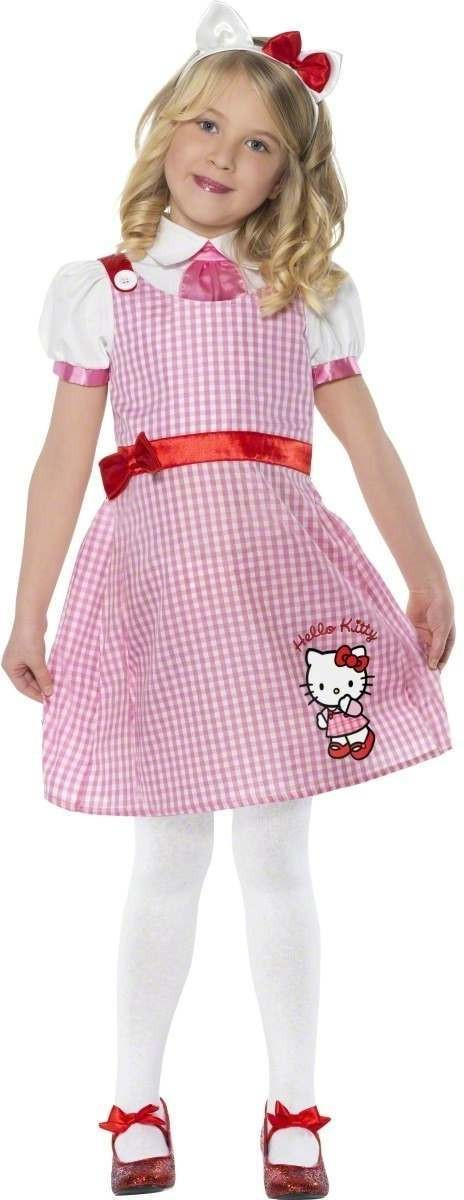 Hello Kitty Pink Tartan School Girl Fancy Dress Girls (School)