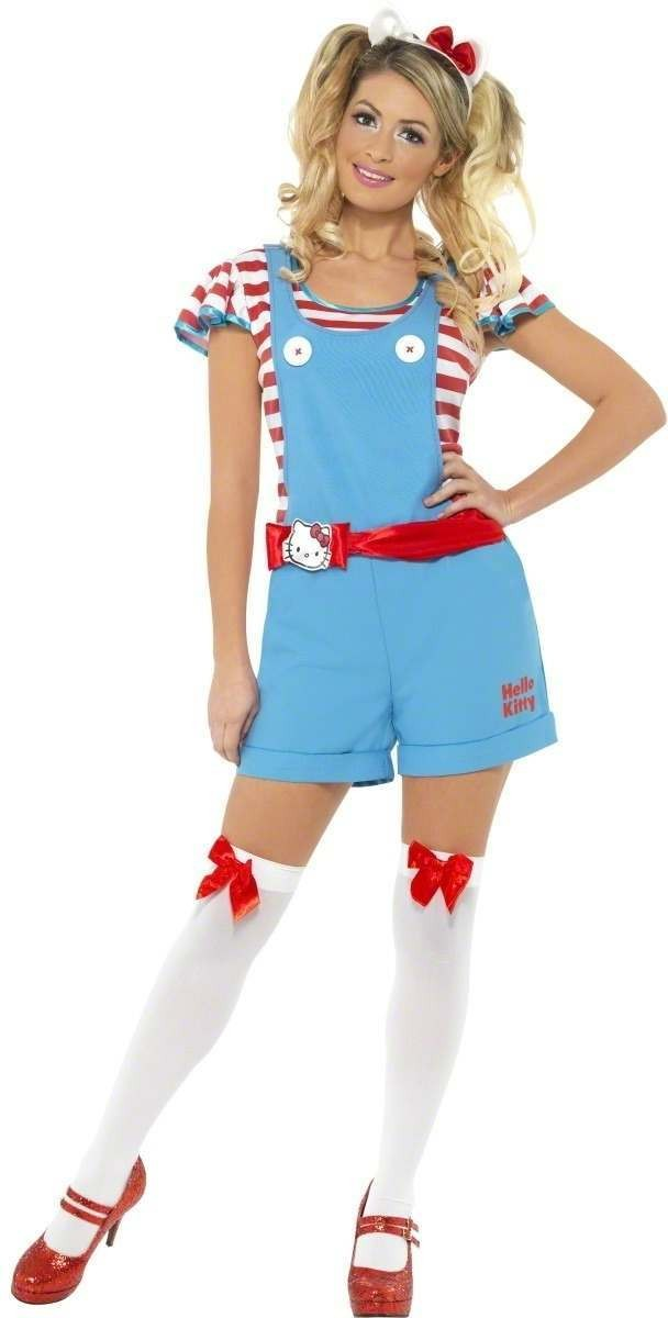 Hello Kitty Classic Dungarees Fancy Dress Costume Girls