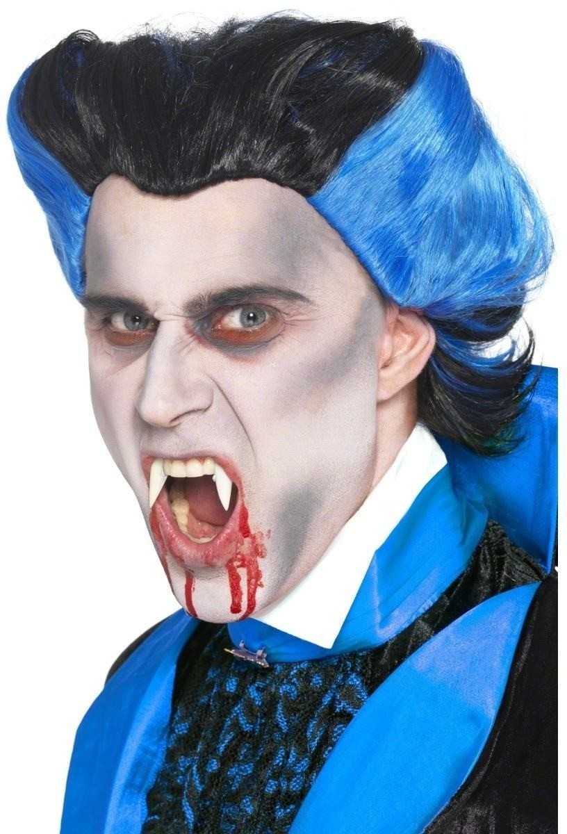 Vamp Wig Fancy Dress Mens (Halloween) - Black/Blue