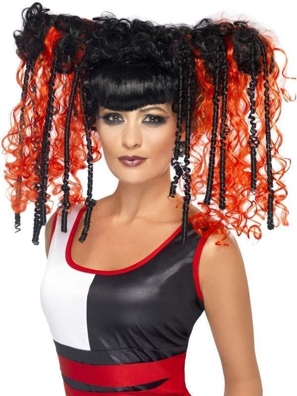 Jackie In A Box Wig (Halloween Wigs) - (Black/Orange)