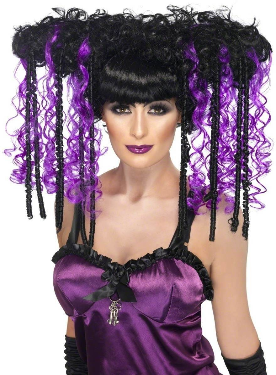 Gothic Emo Wig Fancy Dress Ladies (Halloween) - Purple/Black