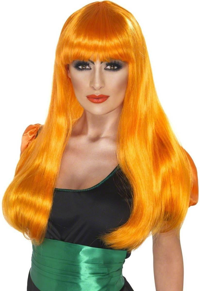Glamour Witch Wig Fancy Dress Ladies (Halloween) - Orange