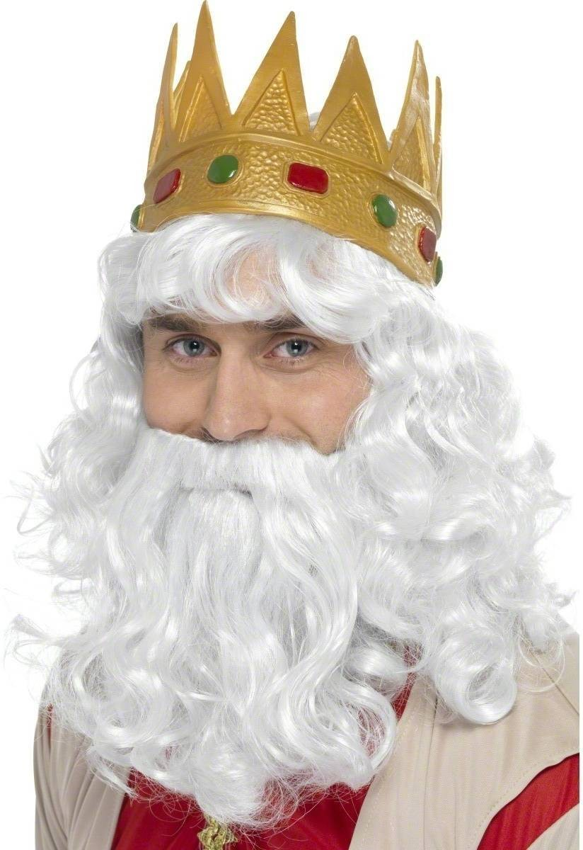 Golden King Wig And Crown - Fancy Dress Mens (Christmas)