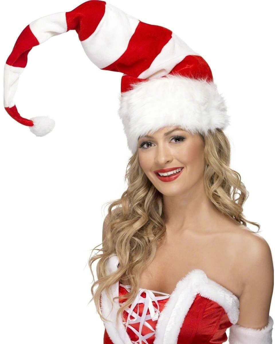 Striped Santa Hat - Fancy Dress Mens (Christmas)