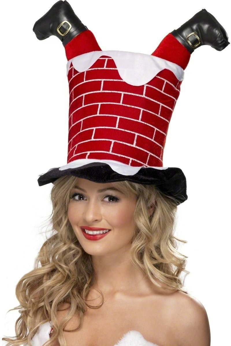 Santa Stuck In Chimney Hat - Fancy Dress Mens (Christmas)
