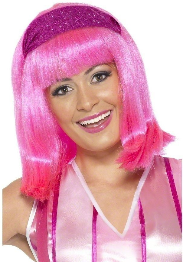 Lazy Town Stephanie Wig Adult Fancy Dress Ladies (Cartoon , Tv) - Pink