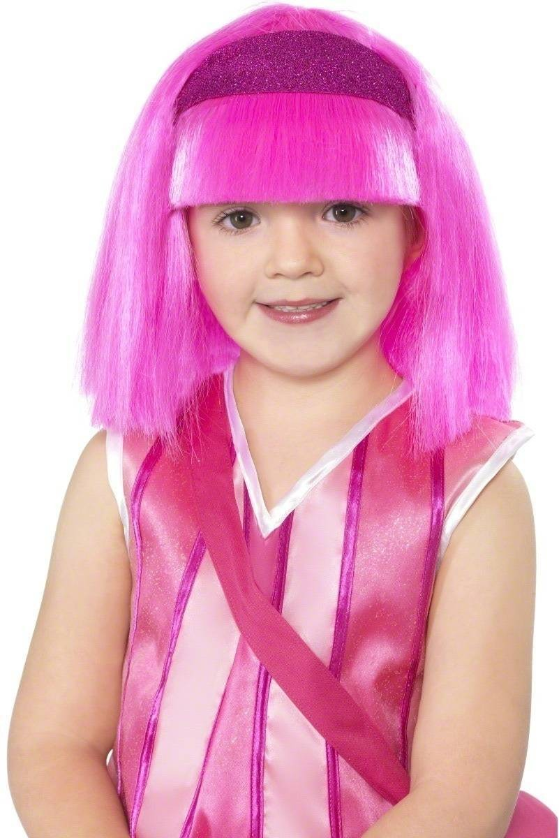 Lazy Town Stephanie Wig Kids Fancy Dress Girls (Cartoon , Tv) - Pink