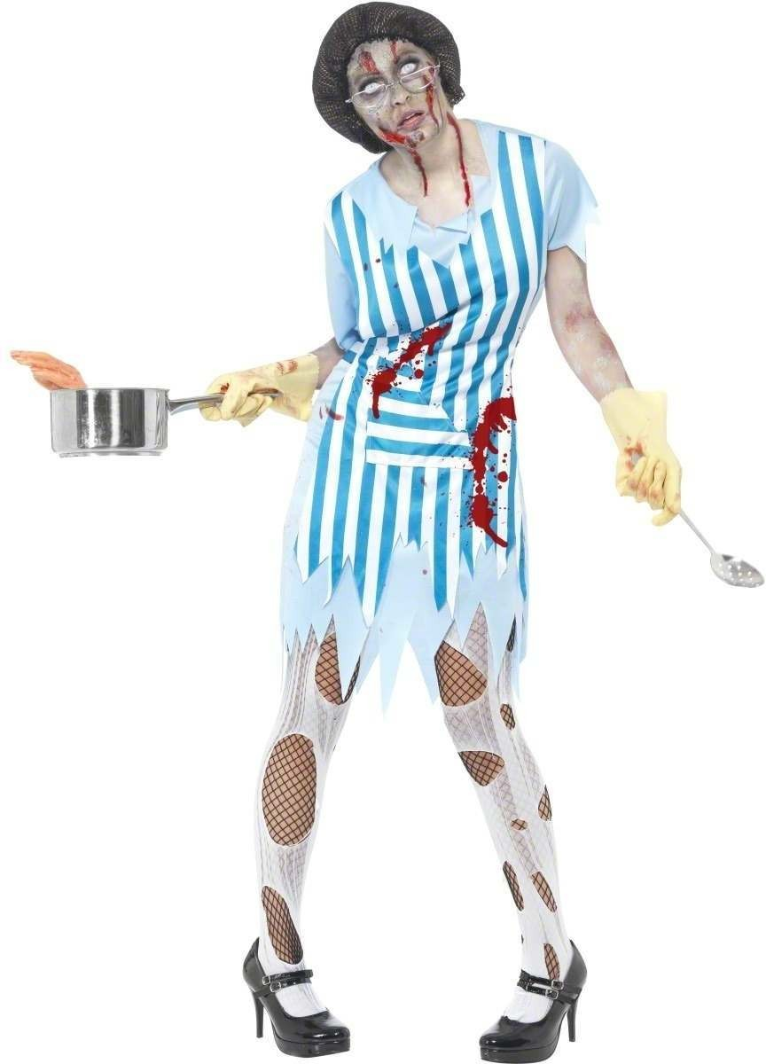 High School Horror Zombie Dinner Lady Fancy Dress (Halloween)