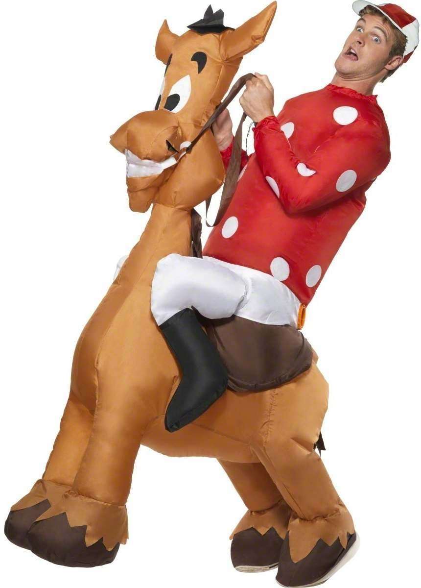 Inflatable Jockey & Horse Costume Mens Size 38-40 S (Sport)