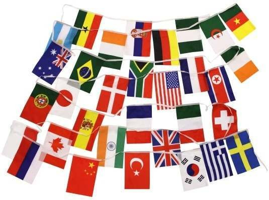 Flag Bunting, Multi Countries (Cartoon Fancy Dress Decorations)