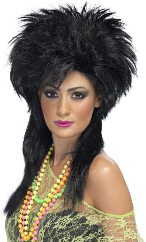 Groovy Punk Chick Wig (1980S Fancy Dress Wigs) - (Black)