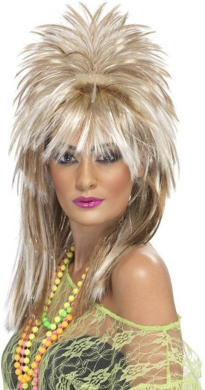 Sparkle Rock Diva Wig (1980S Fancy Dress Wigs) - (Blonde)