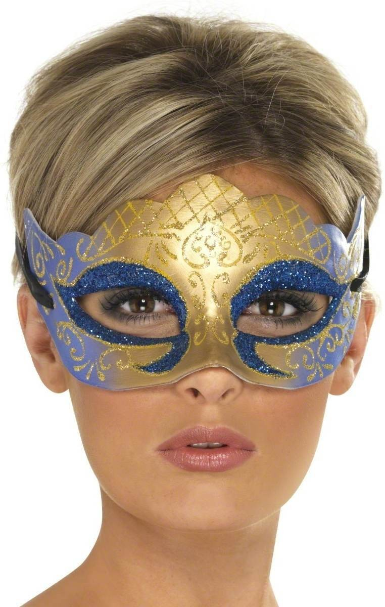 Venetian Colombina Farfalla Glitter Mask Fancy Dress